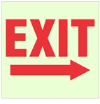 Glow in the Dark EXIT (arrow right) Sign - 10 X 10 - Pressure Sensitive Vinyl or Rigid Plastic