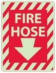 Glow in the Dark FIRE HOSE Sign - 12 X 9 - Pressure Sensitive Vinyl or Rigid Plastic