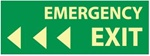 Emergency Exit Left Arrow - 5 X 14 - Glow in the Dark Sign - Pressure Sensitive or Rigid Plastic