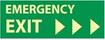 Emergency Exit Right Arrow - 5 X 14 - Glow in the Dark Sign - Pressure Sensitive or Rigid Plastic