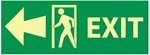 Glow in the Dark Arrow Exit Left Sign - 5 X 14 Pressure Sensitive Vinyl or Rigid Plastic