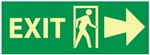 Glow in the Dark Exit Arrow Right Sign - 5 X 14 Pressure Sensitive Vinyl or Rigid Plastic