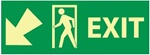 Glow in the Dark Exit Arrow Left and Down Sign - 5 X 14 - Pressure Sensitive Vinyl or Rigid Plastic
