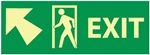 Glow in the Dark Sign Exit Arrow Left and Up Sign - 5 X 14 - Pressure Sensitive Vinyl or Rigid Plastic