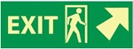 Glow in the Dark Exit Arrow Right and Up Sign - 5 X 14 - Pressure Sensitive Vinyl or Rigid Plastic
