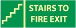 Glow in the Dark Stairs To Fire Exit Sign - 5 X 14 - Pressure Sensitive Vinyl or Rigid Plastic