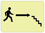 Glow in the Dark STAIRS arrow Right Sign - 7 X 10 - Pressure Sensitive Vinyl or Rigid Plastic