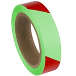"Red Striped Glow in the Dark Warning Tape - 2"" X 30'"