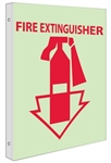Glow in the Dark FIRE EXTINGUISHER Sign - 2-Way 90° design visible from either side.