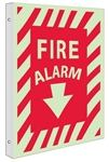 Glow-in-the-Dark FIRE ALARM Sign - 2-Way 90° design visible from either side.