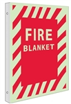 Glow-in-the-Dark FIRE BLANKET Sign - 2-Way 90° design visible from either side.