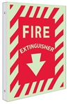 Glow-in-the-Dark FIRE EXTINGUISHER Sign - 2-Way 90° design visible from either side.