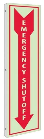 Glow-in-the-Dark EMERGENCY SHUT-OFF Sign - 2-Way 90° double sided design visible from either side.