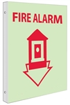 Glow-in-the-Dark FIRE ALARM Sign - 2-Way 90° double sided design visible from either side.