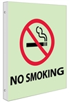 Glow-in-the-Dark NO SMOKING Sign - 2-Way 90° double sided design visible from either side.