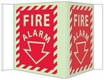 Glow-in-the-Dark FIRE ALARM 3-Way Sign 180° design visible from either side as well as from the front.