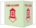 Glow-in-the-Dark FIRE ALARM 3-Way Sign, 180° design visible from either side as well as from the front.