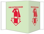 Glow-in-the-Dark FIRE EXTINGUISHER Wall Projection Sign 180° design visible from either side as well as from the front.