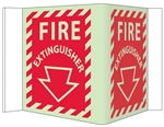 Glow-in-the-Dark FIRE EXTINGUISHER 3-Way Sign 180° design visible from either side as well as from the front.