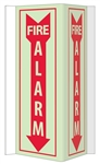 3-Way Glow-in-the-Dark FIRE ALARM Sign 180° design visible from either side as well as from the front.