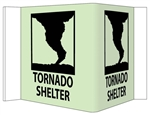 Glow-in-the-Dark TORNADO SHELTER 3-Way Sign 180° design visible from either side as well as from the front.