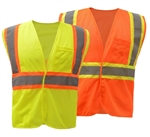 Class 2 Mesh Two Tone Hook & Loop High Visibility Safety Vest - ANSI 107-2010, CLASS 2