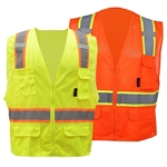 Class 2 Mesh Polyester, Two Tone Reflective Trim, 6 Solid Pocket, Zipper Closure High Visibility Safety Vest - ANSI 107-2010, CLASS 2