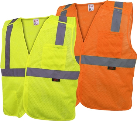 Class 2 Five Point Breakaway Vest, Hook & Loop Closure High Visibility Safety Vest - ANSI 107-2010, CLASS 2