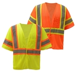 Class 3 Two Tone Reflective Trim Safety Vest - ANSI 107-2010
