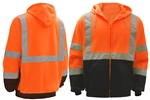 High Visibility Class 3 Fleece Hooded Zipper Front Orange Sweatshirts