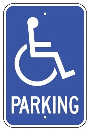 Disabled/Handicapped Parking Lot Sign, 12 X 18 - Type I Reflective on .80 Aluminum, Top and Bottom mounting holes