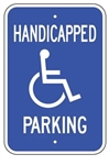 Handicapped Parking Space Sign - Reflective Aluminum, Top and Bottom mounting holes