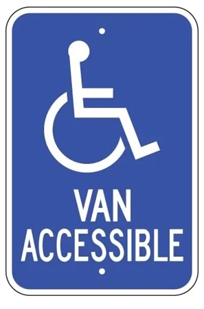 Handicapped Van Accessible Parking Lot Sign - 12 X 18 - Type I Reflective on .80 Aluminum, Top and Bottom mounting holes