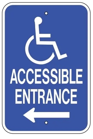 handicap accessible entrance left arrow sign