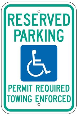ARKANSAS STATE SPECIFIED HANDICAPPED PARKING Sign - 12 X 18 - Type I Reflective on .80 Aluminum, Top and Bottom mounting holes