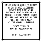CALIFORNIA STATE SPECIFIED HANDICAPPED PARKING Sign - 24 X 24 - Type I Reflective on .80 Aluminum, Top and Bottom mounting holes