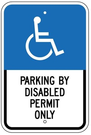 FLORIDA STATE SPECIFIED HANDICAPPED PARKING SIGN - 12 X 18 - Type I Reflective on .80 Aluminum, Top and Bottom mounting holes
