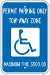 GEORGIA STATE SPECIFIED HANDICAPPED PARKING SIGN - 12 X 18 - Type I Reflective on .80 Aluminum, Top and Bottom mounting holes