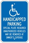 MASSACHUSETTS STATE SPECIFIED HANDICAPPED PARKING Sign - 12 X 18 - Type I Reflective on .80 Aluminum, Top and Bottom mounting holes