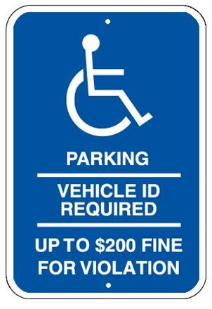 MINNESOTA STATE SPECIFIED HANDICAPPED PARKING Sign - 12 X 18 - Type I Reflective on .80 Aluminum, Top and Bottom mounting holes