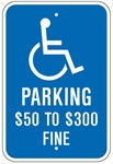 MISSOURI STATE SPECIFIED HANDICAPPED PARKING SIGN - 12 X 18 - Type I Reflective on .80 Aluminum, Top and Bottom mounting holes