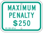 N. CAROLINA STATE SPECIFIED HANDICAPPED PARKING PENALTY SIGN - 12 X 9 - Type I Reflective on .80 Aluminum, Top and Bottom mounting holes