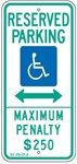 N. CAROLINA STATE SPECIFIED HANDICAPPED PARKING SIGN - 12 X 26 - Type I Reflective on .80 Aluminum, Top and Bottom mounting holes