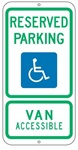 TEXAS STATE SPECIFIED HANDICAPPED PARKING Sign - 12 X 24 - Type I Reflective on .80 Aluminum, Top and Bottom mounting holes