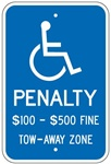 VIRGINIA STATE SPECIFIED HANDICAPPED PARKING SIGN - 12 X 18 - Type I Reflective on .80 Aluminum, Top and Bottom mounting holes
