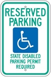 WASHINGTON STATE SPECIFIED HANDICAPPED PARKING Sign - 12 X 18 - Type I Reflective on .80 Aluminum, Top and Bottom mounting holes