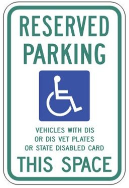 WISCONSIN STATE SPECIFIED HANDICAPPED PARKING Sign - 12 X 18 - Type I Reflective on .80 Aluminum, Top and Bottom mounting holes
