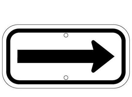 Black on White Parking Space Directional Arrow - 12 X 6 - Type I Reflective .080 Aluminum, Top and Bottom mounting holes