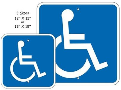 Handicap Accessible ADA Symbol - 12 X 12 or 18 X 18 - Type I Reflective .080 Aluminum, Top and Bottom mounting holes.