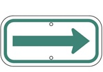 Green on White Parking Space Directional Arrow - 12 X 6 - Type I Reflective .080 Aluminum, Top and Bottom mounting holes